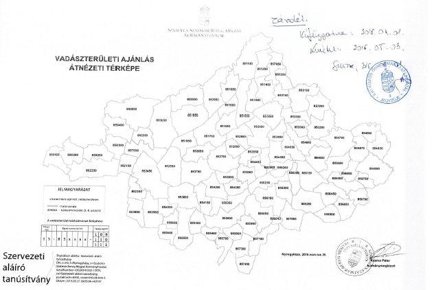 Vadászterületi ajánlás átnézeti térképe